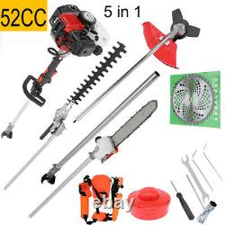 52CC Petrol Garden MULTI TOOL 5 in 1 Grass & Hedge Trimmer Strimmer Pole saw