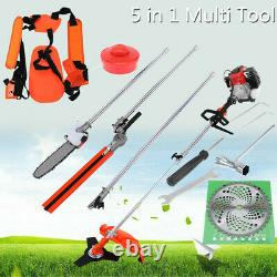 52cc Multi Function Garden Tool 5 in 1 Petrol Strimmer Brush Cutter Chainsaw UK