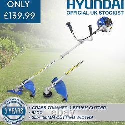 Hyundai Garden Trimmer Grass Strimmer Brushcutter Petrol Anti-Vibration 52cc