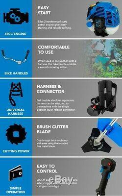 SGS 52cc Petrol Grass Strimmer / Trimmer / Brush Cutter 3 Year Warranty
