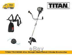 TITAN TTL530GBC Petrol Strimmer Brushcutter 43cc BullHorn Straight Shaft GRADE B