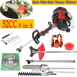 52cc 5 En 1 Hedge Trimmer Multi Tool Petrol Strimmer Brushcutter Garden Chainsaw