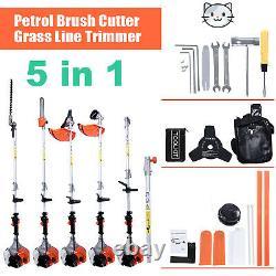 52cc Pinceau D'essence Cutter Chainsaw Grass Trimmer 5 In1 Outil De Jardin Multifonction