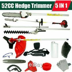5 En1 52cc Taille-haies Multi-outils À Essence Tondeuse À Gazon Chainsaw Jardin Débrousailleuses