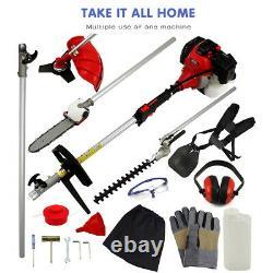 5 En 1 Garden Hedge Trimmer Petrol Strimmer Chainsaw Brushcutter Multi Tool 52cc