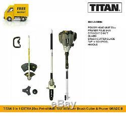 Titan 3 En 1 Extra 25cc Essence Multi Tool Tondeuse À Gazon Débroussailleuse & Sécateur